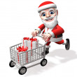 Happy shopping of 3d santa — Stock Photo