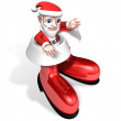 Happy 3d santa in the snow shoes — Stok fotoğraf
