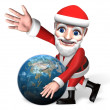 3d santa and the globe's moving — Stock Photo