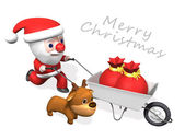 3d delivery of santa and rudolf — Stock Photo