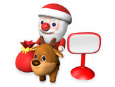 3d santa and rudolf beside the signboard — Stock Photo