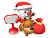 3d traffic control of santa and rudolph — Stock Photo