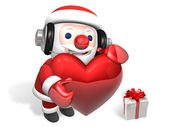 3d santa and christmas heart — Stock Photo