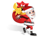 Christmas delivery of 3d santa — Stock Photo