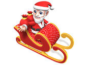 3d-santa op de vliegende slee — Stockfoto