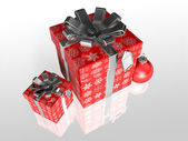 Gift wrapping red paper with ribbon — Stock Photo