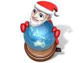 Santa 3d gospodarstwa na świecie — Zdjęcie stockowe