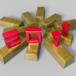 Stock Photo: 3d 2011 art on gold bars