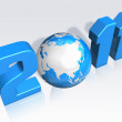 3d 2011 letter with globe — Stock Photo