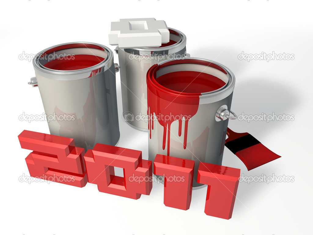2011 letter standing next to three paint container  Stock Photo #4464428