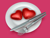 Arte 3d di san valentino al cioccolato — Foto Stock