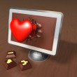 Stock Photo: Surprised 3d pop up heart off computer