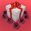 Stock Photo: Decorated present box and flower candle