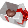 Royalty-Free Stock Photo: Heart 3d hard chocolate into gift box