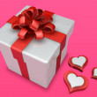 Decorated 3d gift box with heart — Stock Photo