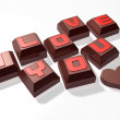 3d lettering hard mini chocolate and heart - Stock Photo