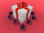 Decorated present box and flower candle — Stock Photo