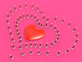 Event 3d candle array as heart — Stock Photo