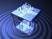 3d crystal present box on waving water — Stock Photo