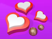 3d three heart and mini decorated chocolate — Stock Photo