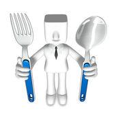 Creative 3d business man dinner — Stock Photo