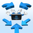 3d television man showing - Stock Photo
