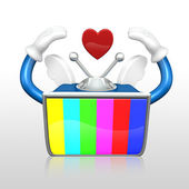 3d television man loving — Stock Photo