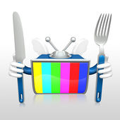 3d television man eating — Stock Photo