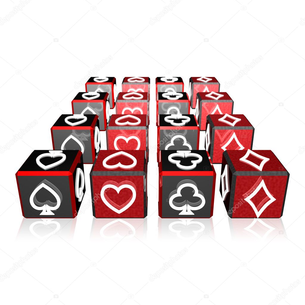 3d color cubes array with playing card suits — Stock Photo #5142752