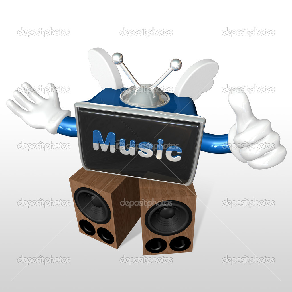 3d television man listening to music  with big speaker — Stock Photo #5144370
