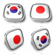 3d korea and japan flag button - 图库照片