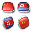 3d china and north korea flag button — Stock Photo