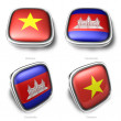 3d vietnam and cambodia flag button - 图库照片