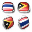 3d thailand and east timor flag button - 图库照片