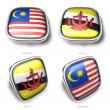3d singapore and phillippines flag button - ストック写真