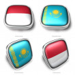 3d indonesia and kazakhstan flag button — Stock Photo