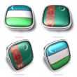 3d uzbekistan and turkmenistan flag button — Stock Photo