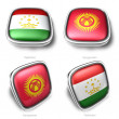 3d tajikistan and kyrgyzstan flag button — Stock Photo