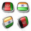 3d afghanistan and india flag button - 图库照片