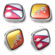 3d nepal and bhutan flag button - 图库照片