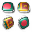3d bangladesh and srilankaflag button - 图库照片