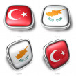 3d turkey and cyprus flag button — Stock Photo