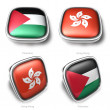 3d palestine and hongkong flag button — Stock Photo