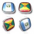3d guatemala and grenada s flag button — Foto de Stock
