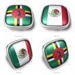3d Dominica and Mexico flag button — Stock Photo