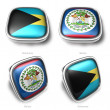 3d Bahamas and Belize flag button — Stock Photo