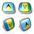 3d Saint Lucia and Vincent Grenadines flag button — Stock Photo