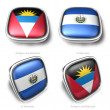 3d Antigua Barbuda and El Salvador flag button — ストック写真