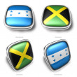 3d Honduras and Jamaica flag button — Stock Photo