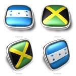 3d Honduras and Jamaica flag button — Stock Photo